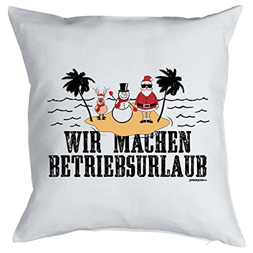 Lustige Weihnachtsdeko - Kissen mit Füllung - Wir machen Betriebsurlaub, Nikolaus, Schneemann und Rentier! Couchkissen