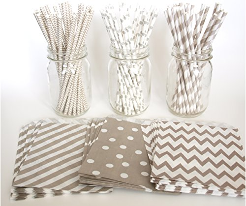 Silver Goodie Bags, Drinking Straws, Bridal Shower Gift Bags, Bulk Straws, 6 Combo Party Supply Kit - Silver Multi Design