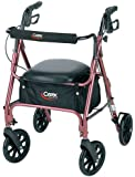 Carex Rolling Walker / Rollator with Padded Seat and Backrest