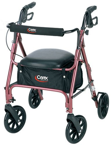 Carex Rolling Walker Rollator With Padded Seat And