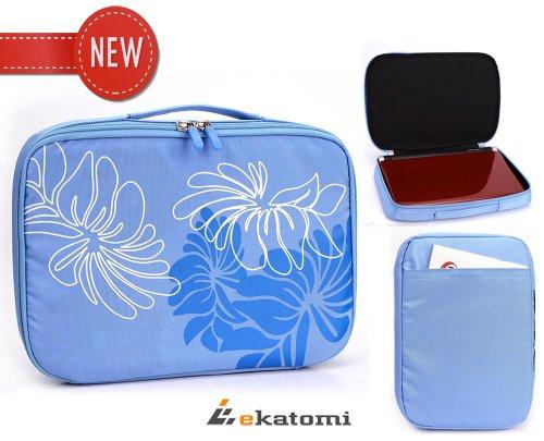 [Floral Tote] Blue | Universal Case Bag For 9-Inch Rca Drc99390 Portable Dvd Player. Bonus Ekatomi Screen Cleaner