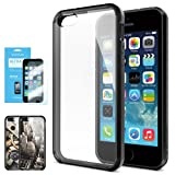 SPIGEN iPhone 5S Case Bumper **NEW Release** [Ultra Hybrid] [Black] FREE Screen Protector + Slim Fit Shock Absorption Protective Bumper with CLEAR Back Panel for iPhone 5S / 5 – ECO-Friendly Packaging – AT&T, Verizon, Sprint, T-Mobile, International – Black