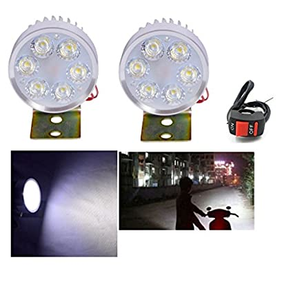 R.J.VON-Bike-Fog-light-6-led-Super-Bright-With-ON/OFF-Switch-Set-of-2-Pcs.-For-Bajaj-Discover-100-M-Disc