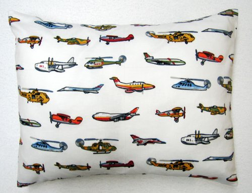 SheetWorld Crib / Toddler Baby Pillow Case - Percale Pillow Case - Air Traffic - Made In USA