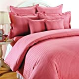 Trance Home Linen Single Size Fitted Bedsheet Cotton Satin 200 TC - Rose Pink