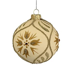 Department 56 The Signature Collection of Christmas Décor Beaded Floral Ball Polish Glass Ornament, Small