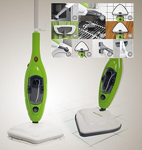 Scopa a Vapore elettrica Lavapavimenti x10 in 1 Steam mop Con molti accessori e panni inclusi. Ideale per bagno, cucina, tappeti e piastrelle. Igienizza e pulisce in profondità vaporetto sterilizzatore