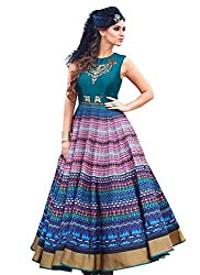 Rozdeal New Teal Green Pure Bhagalpuri Designer Gown