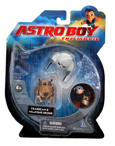 Astro Boy The Movie Series 2 Pack Mini Action Figure - Trashcan and Weapons Drone - 1