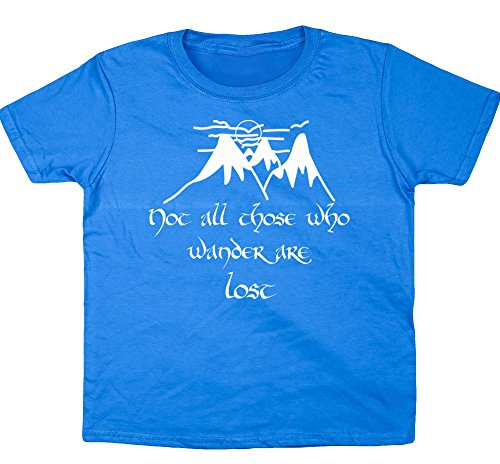 HippoWarehouse Non Tutti Coloro Che Wander are lost Quote T-Shirt per bambini a maniche corte Sapphire Blue 7-8 Anni