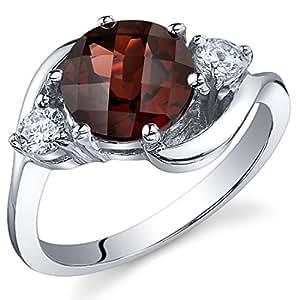 3 Stone Design 2.25 carats Garnet Ring in Sterling Silver Rhodium Nickel Finish Size 9
