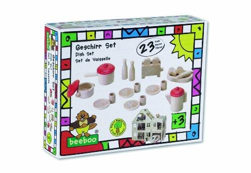 Imagen 2 de Beeboo 31520 - Juego de vajilla de madera para casa de muñecas (23 piezas)