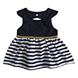 Infant Baby Toddler Girls Dress Stripe Stitching Sundress Navy Dress Outfit (6-12M, Navy Blue)