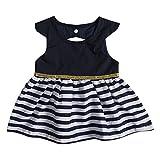 Infant Baby Toddler Girls Dress Stripe Stitching Sundress Navy Dress Outfit (6-12M, Navy Blue)