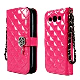 TORU iHand Diamond Quilted Fashion Wallet Case for Samsung Galaxy S3 SIII S III i9300 - Hot Pink