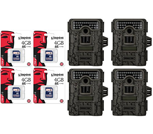 4 Moultrie Game Spy D-444 Low Glow Infrared 8Mp Digital Game Cameras + Sd Cards