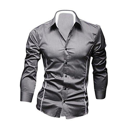 SODIAL (R) Nuovo moda lusso Uomo camicia maniche lunghe casual slim fit grigio M