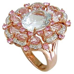 18KR Aquamarine, Morganite, Pink Sapphire & Diamond Ring