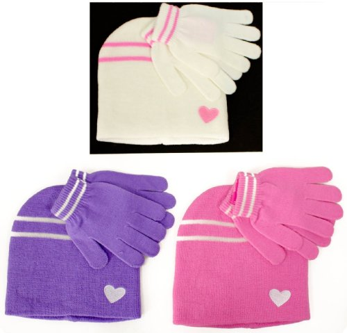 Girls Winter Hat and Glove Heart Set - Available in Purple Pink or Cream - Great Christmas Stocking Filler Gift Idea