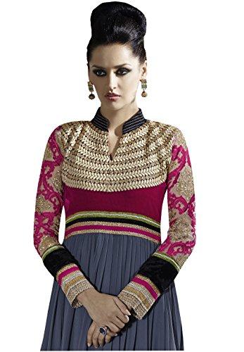 Rajnandini Georgette embroidery Semi Stitched Anarkali suit (Multi Colour _Free Size)