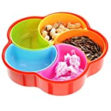 PNBB Creative Fashion Sealed Plastic Round Snack Tray with Lid Sub-grid Dried Fruit Tray