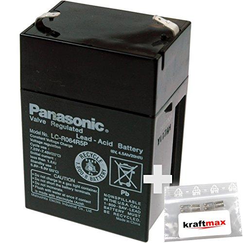 1x-Panasonic-6V-45Ah-AGM-Blei-Akku-LC-R064R5P-Faston-48-inkl-2x-Original-Kraftmax-Anschlu-Adapter