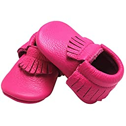 Mejale Baby Soft Sole Leather Tassel Slip on Infant Toddler Shoes Pre-walker