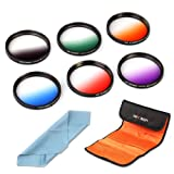 K&F Concept 6pcs 58mm Graduated Orange Blue Grey Red Purple Green Lens Accessory Filter Kit Graduate Filters for Nikon D5200 D5100 D3200 D3100 for Canon DSLR Cameras + Lens Cleaning Cloth + Filter Bag Pouch