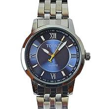 buy Topaz 5017Bms Men'S Blue Face Silver Tone Luxury Analog Dress Watch With Popular Design
