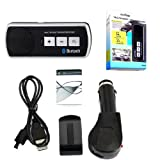 Wayzon Wireless Bluetooth Hands Free iN Car Drive And Talk Kit With Sun Visor Clip + Rechargable Battery + Car Charger Suitable For Dell Streak 7 Wi-Fi / Pro D43 / Venue Pro / XCD28 / XCD35