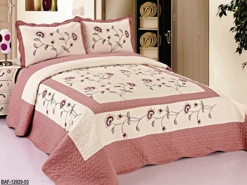 3pcs High Quality Fully Quilted Embroidery Quilts Bedspread Bed Coverlets Cover Set , Queen King (Beige/Rose) (High Quality Quilts compare prices)