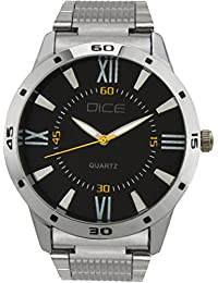 "Dice ""Numbers-4275"" Formal Round Shaped Wrist Watch For Men. Fitted With Beautiful Black Dial, Stainless Steel..."