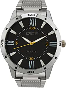 "Dice ""Numbers 4275"" Formal Round Shaped Wrist Watch for Men. Fitted with Beautiful Black Dial, Stainless Steel Case and Chain"