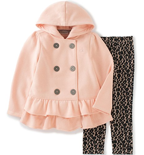 Calvin Klein Baby Hooded Ruffled Jacket with Leggings Set, Peach, 18 Months