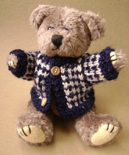 Teddy Bear in a Wool Buttoned Up Sweater Stuffed