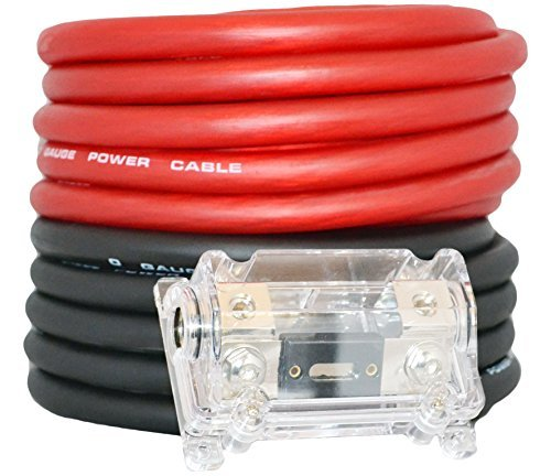 0 Gauge Red / Black Amplifier Amp Power/Ground 1/0 Wire Set 50 Feet SuperFlex Cable 25 Each, ANL Fuse Holder