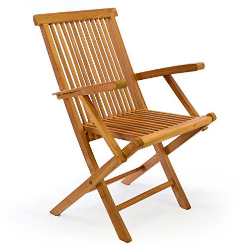 Klappstuhl Teakstuhl Gartenstuhl Teak Holz Stuhl mit Armlehne für Terrasse Balkon Wintergarten witterungsbeständig behandelt massiv klappbar natur