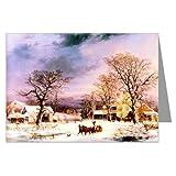Currier et Ives G.H.Durrie hiver, les vacances et la maison - 1861 Carte de vœux de Noël...