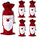 Orangesky 5PC Santa Claus Christmas Red Wine Bottle Cover Bags