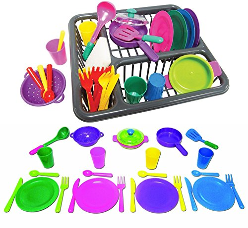 Pretend and Play Childrens Kitchen Dishes Set for Kids, 27 Piece set (Child Dishes compare prices)