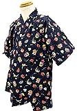 エビス柄 紺 [90サイズ] KOMESICHI オリジナル子供甚平 綿100% 肌着 パジャマ 寝巻き
