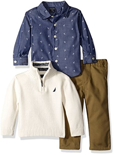 Nautica Baby Three Piece Set with Woven, Quarter Zip Sweater, Flat Front Twill Pants, Ivory, 12 Months