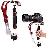 AFUNTA プロハンドヘルドビデオカメラスタビライザー着実な、GoPro、キャノン、ニコンや滑らかなプロ着実グライドカムと2.1ポンドまでの任意のデジタル一眼レフカメラに最適です - 赤+シルバー+ブラック