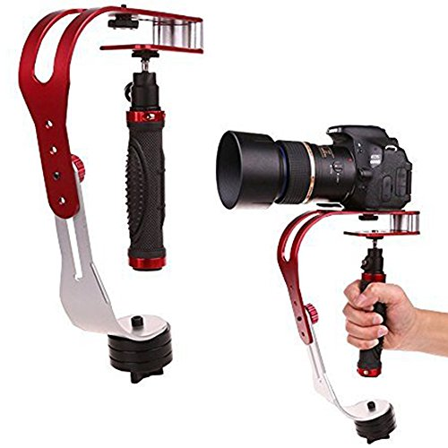 AFUNTA-Pro-Handheld-video-Camera-Stabilizer-Steady-Perfect-for-GoPro-Cannon-Nikon-or-any-DSLR-camera-up-to-21-lbs-With-Smooth-Pro-Steady-Glide-Cam-Red-Silver-Black