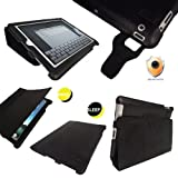 iGadgitz 'Portfolio Slimline' Black PU Leather Case Cover for Apple iPad 2. With Unique Lens Protection System and Smart Cover Sleep Function + Screen Protector