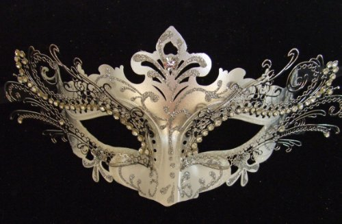 Silver Laser Cut Venetian Mask Crystal Halloween Mardi Gras Masquerade Party