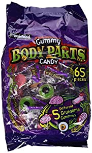 Frankford Gummy Body Parts Candy, 17.2 oz Bag (65 Pieces) in a BlackTie Box