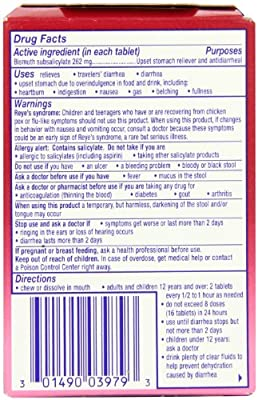 Pepto-Bismol Upset Stomach Reliever/Antidiarrheal Chewable Tablets