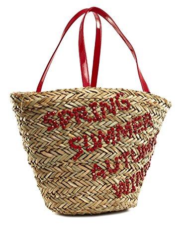 Life & Style Borsa Donna cestino borsa spiaggia borsa da spiaggia Shopper paglia borsa a spalla chic Pretty 123-4K rosso Red Women, Rosso (rosso), One Size