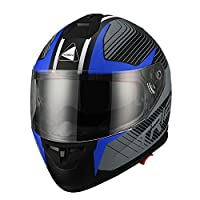 Triangle Matte Blue Dual Visor Full Face Motorcycle Helmet [DOT] (Large) by Zhejiang Jixiang Motorcycle Fittings Co., LTD